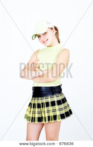 teenage girl portrait isolated over white background poster