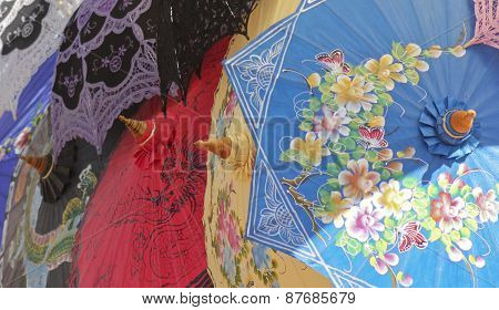 An Assortment Of Colorful Light Shade Umbrellas