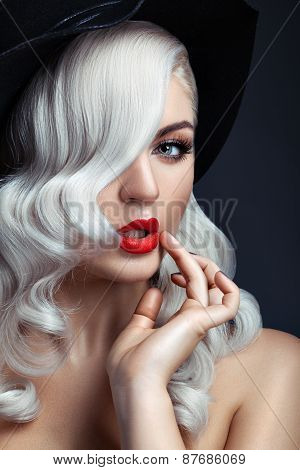 White Curls And Red Lipstick.