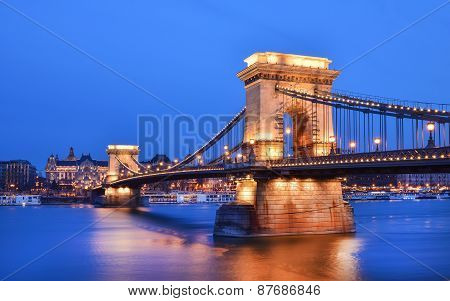 The Evening View Of The Chain Bridge, The Danube And Buda Side