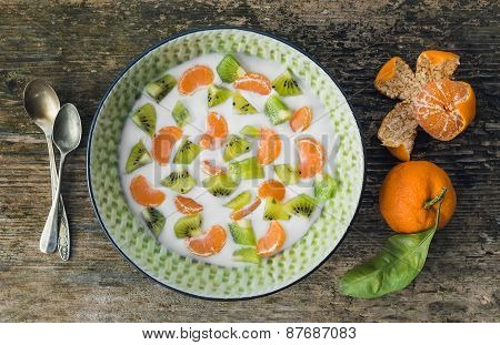 Fresh And Healthy Vegetarian Breakfast Set: A Bawl Of Yogurt Wit