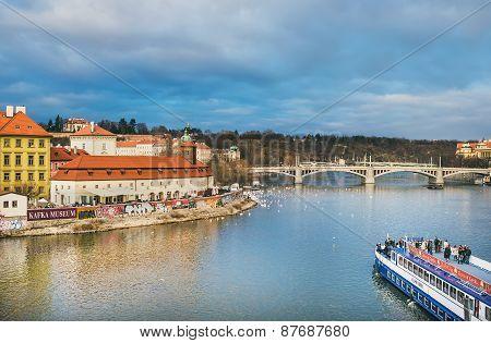 Prague, Czech Republic, Central Europe, 25.12.2014: The View From Charles Bridge Over The Vltava Riv