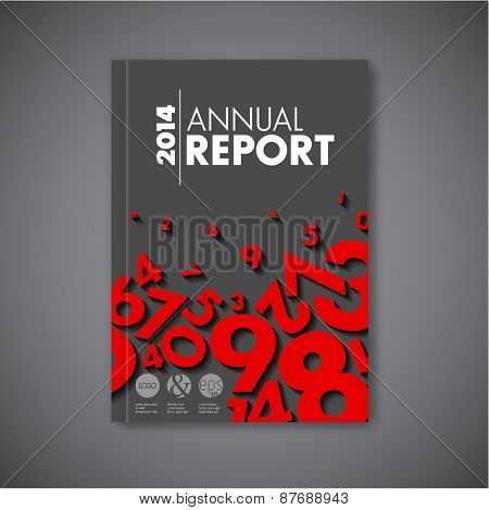 Modern Vector abstract brochure / book / flyer design template - dark version with red numbers