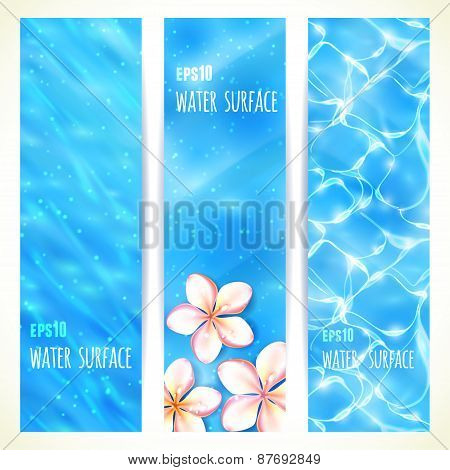 Set of Vertical Banners with Water Surface. Vector illustration, eps10, editable.