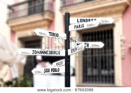 Signpost With Names Of Major Cities Worldwide