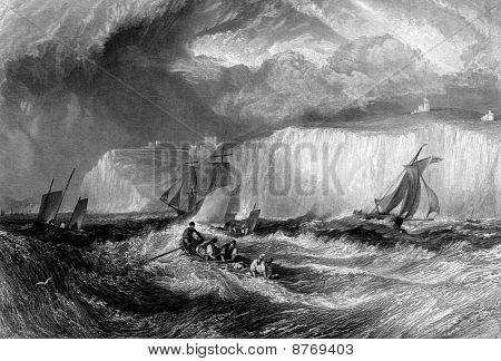Sailing in rough sea with white cliffs of Dover in background England. Engraved by William Miller in 1838 public domain image by virtue of age. poster