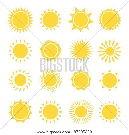Sun icons collection.  illustration