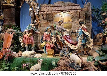 GRAZ, AUSTRIA - JANUARY 10, 2015: Nativity scene, creche, or crib, birth of Jesus in Mariahilf church in Graz, Styria, Austria on January 10, 2015.