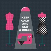Poster. Retro style poster with sewing accessories and qoute. Keep calm and sew a dress. Flat illustration. poster