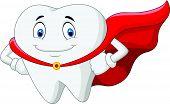 Vector illustration of Happy cartoon superhero healthy tooth poster