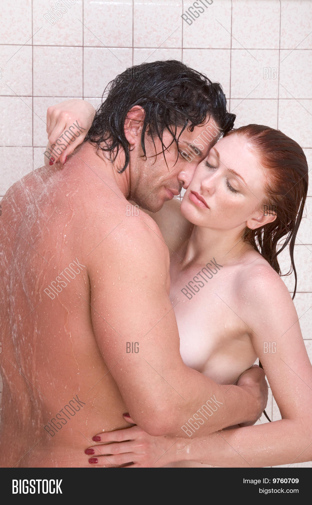 Man women in shower naked