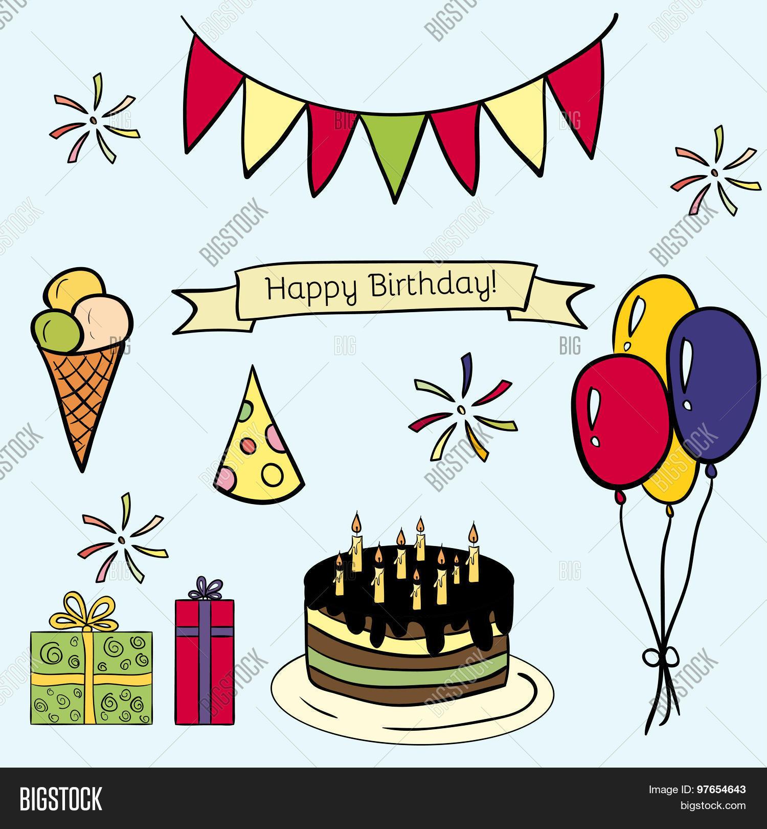 Happy Birthday Vector Doodle Color Icon Set