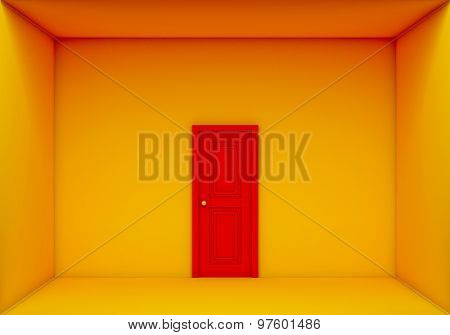 Single Red Door Closed On The Yellow Box