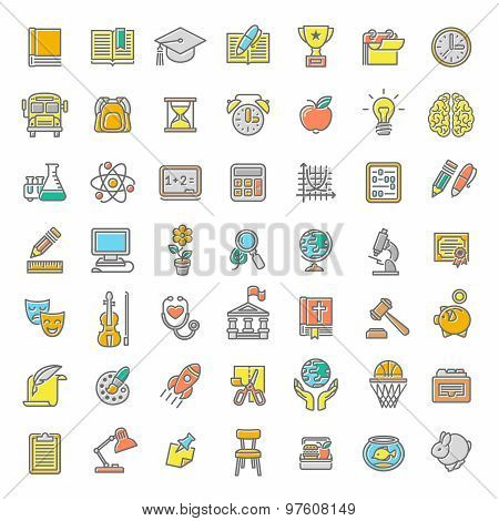Flat Line Colorful School Subjects Icons