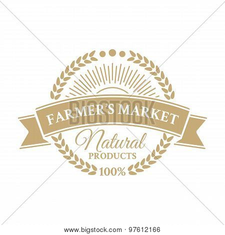 Badge in retro style for ecologically pure food