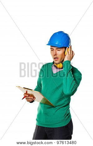 Architect Holding A Checklist. Builder Closed Ears Earplugs.