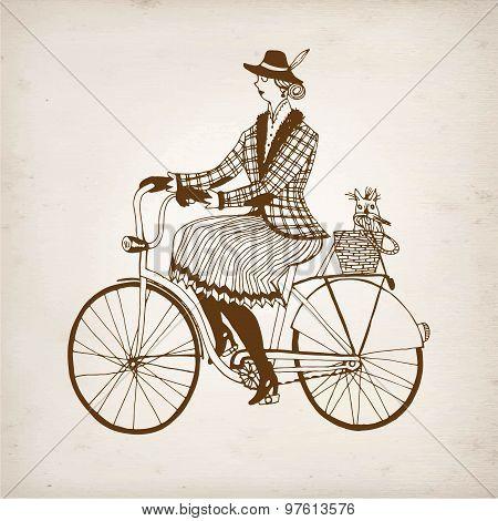 Retro Lady Cyclist Vector Illustration
