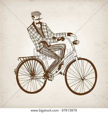 Retro Cyclist Vector Illustration