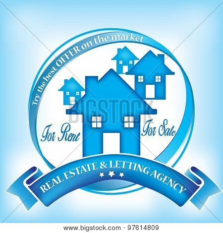 Stamp with houses and text for real estate business