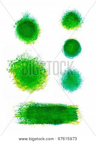 Set of green oil paint splotches and strokes. Artistic design elements