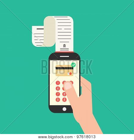 hand holding smartphone with shopping check