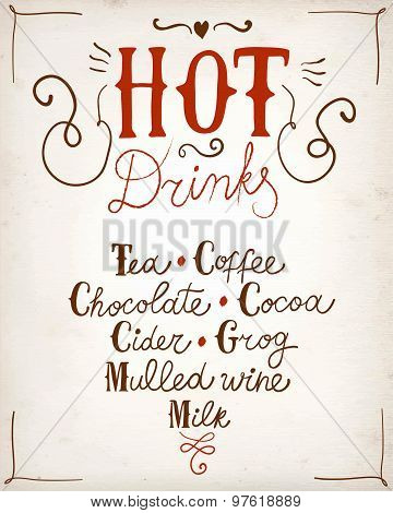 Hot Drinks Calligraphy On Paper Background