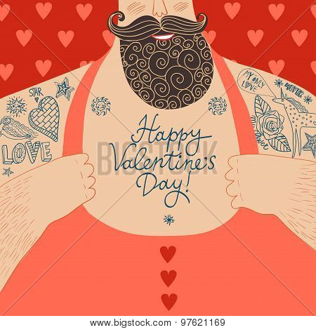 Vector Valentine's Cartoon Illustration Of Mighty Male Chest