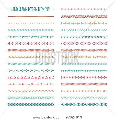Ethnic hand drawn vector line border set and hipster scribble design element. Native brushes. Aztec