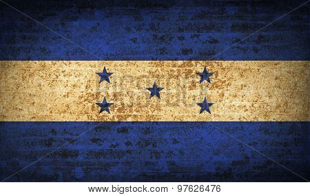 Flags Honduras With Dirty Paper Texture. Vector