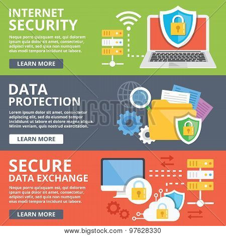 Internet security, data protection, secure data exchange, cryptography flat illustration concepts