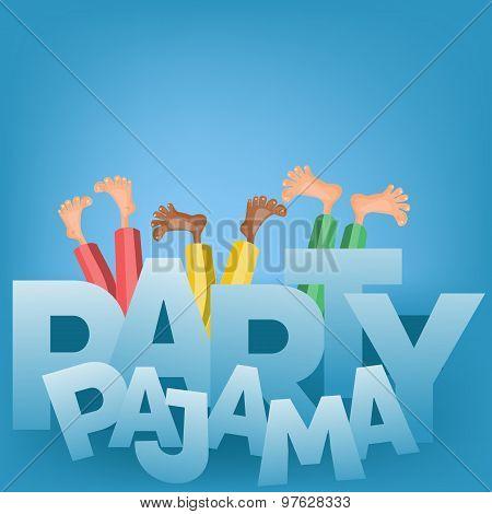 Illustration of boys having pajama slumber party. Vector card poster