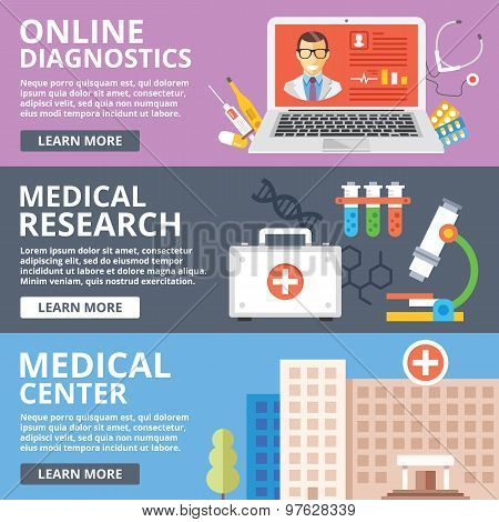 Online diagnostics, medical research, medical center flat illustration concepts set
