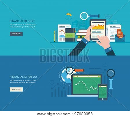 Flat design modern vector illustration concept of analyzing project, financial report, financial ana