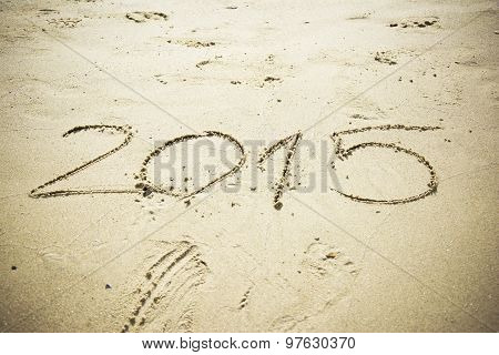 Number 2015 Written In Sand