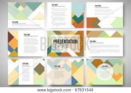 Set of 9 templates for presentation slides. Abstract colored background, square design vector illust