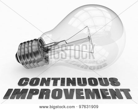 Continuous Improvement - lightbulb on white background with text under it. 3d render illustration. poster