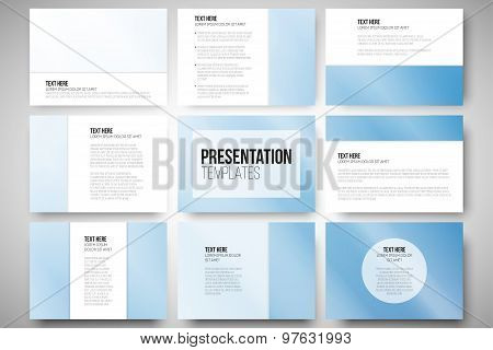 Set of 9 templates for presentation slides. Blue background vector illustration.