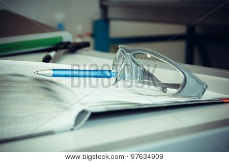 Thick Laboratory Journal With Goggles, Pen