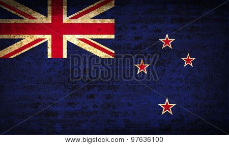 Flags New Zeland With Dirty Paper Texture. Vector