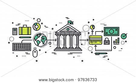 Banking Transaction Line Style Illustration