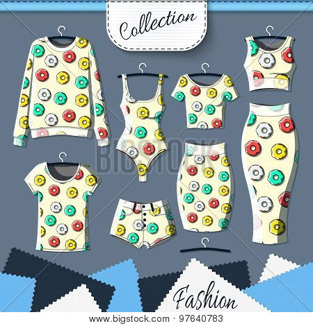 Set of clothes with stylish print of donuts. Clothing design. T-shirt. Clothes with prints. Template insulated clothing with prints. Vector poster