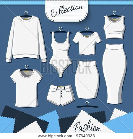 Set of white clothes to create design on dark  background