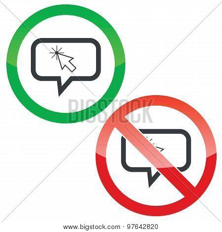 Arrow cursor message permission signs