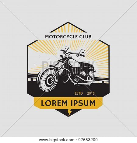 Motorcycle Club Label. Motorcycle Symbol. Motocycle Icon. Vector Illustration