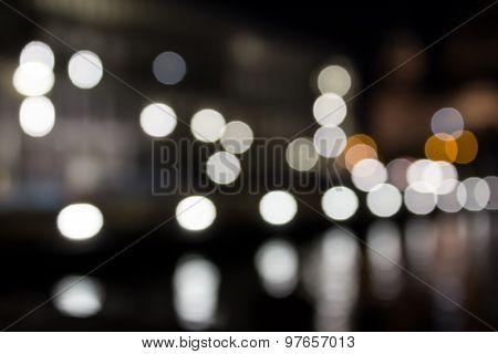 city at night, blurred lights, boquet light effect