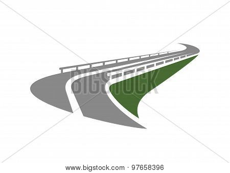 Road with guardrails passing on the edge of slope