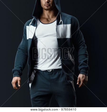 Fitness Male Model In Sweatshirt