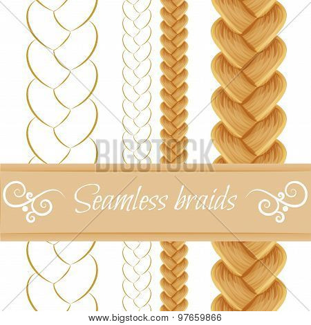 Hair braided isolated on white. Seamless three strand french bra