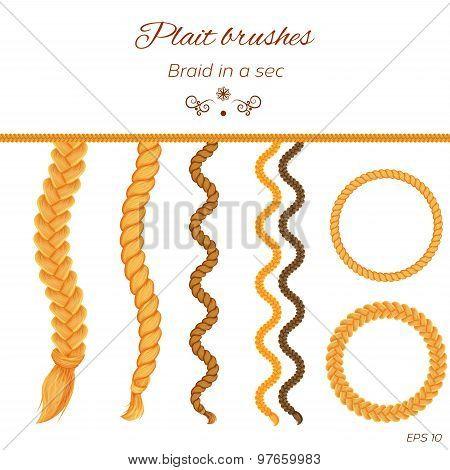 Hair braided isolated on white. Seamless braids