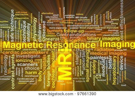Background concept wordcloud illustration of magnetic resonance imaging MRI glowing light